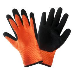 耐久財7のゲージのナイロン羊毛はさみ金のやししわの乳液は冬の使用のためのスリップ防止企業作業安全手袋に塗った