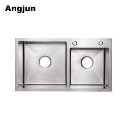 Haut de haute qualité SS 304 / 201 Nano lavabo en acier inoxydable brossé
