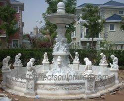 La piedra al aire libre Piscina de agua fuente de mármol con los niños la estatua del Dragón (SY-F204)