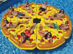 صالة عائمة بحمام سباحة صفراء بيتزا عائمة قابلة للنفخ على الجزيرة