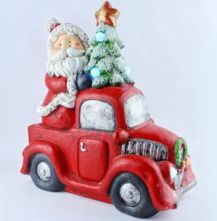 Porselein Nieuw ontwerp Kerst Home Decoratieve creatieve decoraties op maat Keramische kerstman-rijauto met LED-kerstboom-cadeau