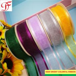 Impresión personalizada de fábrica de satén, Grosgrain cinta de organza, Metálico, con el borde de satén para envolver/prendas de vestir o la decoración/regalos de Navidad/Box/Accesorio de prendas de vestir