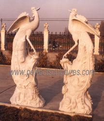 Tuin Custom Marble Carving Animal Sculpture gesneden Stone Phenix Phoenix Standbeeld voor decoratief buitenshuis (SY-B018)