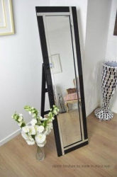床ミラーに服を着せる立つ3D高品質の黒フレーム