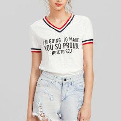 V maglietta delle donne del testo fisso della banda del collo