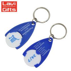Custom супермаркет синего цвета пластиковых универсальный передвижной маркер медали держатель цепочки ключей