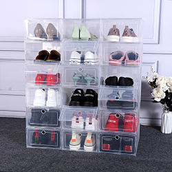 Stapelbarer freier magnetischer Nike-Plastikkasten-Absinken-Vorderseite-transparenter Schuh-Kasten-acrylsauerspeicher mit kundenspezifischem Firmenzeichen