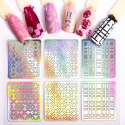 Laser étoilé holographique Nail Foils autocollant colle Conseils de transfert de dessins et modèles mixtes Shimmer Nail Art décorations défini