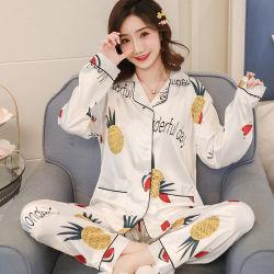 As imitações de Seda Housewear pijamas da Primavera de Manga Longa de Verão da prensa