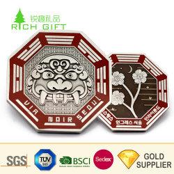 تصميم شهير وزينك معدني مخصص أللوي ثلاثي الأبعاد فضية مطلية United شعارالامم علامة الزهور تذكار Coin