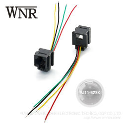 ワイヤーが付いているWnreのプラスチック6p4c Rj11コネクター