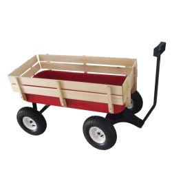 Venda por grosso de madeira de brinquedos das crianças e do lado de metal Carrinho Vagão tc1801