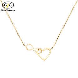 8 simple forma de corazón Collar chapado en oro plata joyas mayoristas