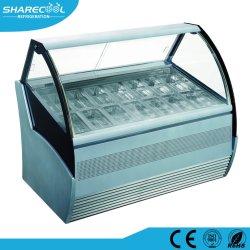 Vetrina di vetro curva Tempered del contatore del frigorifero del gelato/congelatore di Gelato