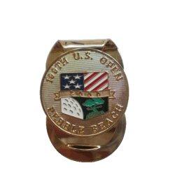 Muelle de latón dorado Campo de Golf personalizadas de metal plateado de acero inoxidable Mens Billetera magnética papel dinero Clip como regalos de promoción (009)