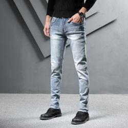 Jeans del denim dei pantaloni dei ragazzi MOQ degli uomini su ordinazione bassi di alta qualità