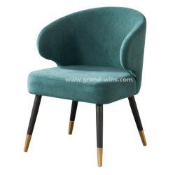 Роскошный отель ткань Solidwood кафе стул с латунными ноги обеденный стул