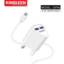O PINO DO REINO UNIDO o carregamento rápido Micro adaptador USB duplo 2.0 Kit de cabo (Fast Carregador de parede + Micro Cabo para telefone celular