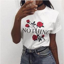 China-Kleid-kundenspezifisches Drucken weg vom weißen T-Shirt für Frauen