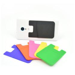 Commerce de gros logo personnalisé 3m autocollant adhésif silicone multifonctionnelle téléphone mobile intelligent cas ID détenteur de carte de crédit bancaire pour la promotion