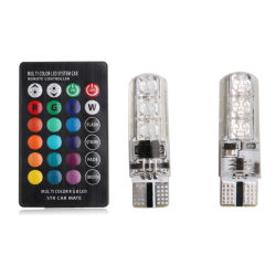 مصباح LED الداخلي RGB T10 5050 SMD مع وحدة التحكم عن بُعد