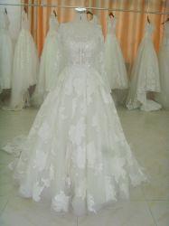 Новейшие кружево свадебные платья с длинными рукавами (18406#)