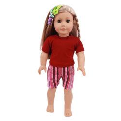 18인치 미국 걸의 저렴한 아기 돌의 옷 순수 컬러 팬티가 있는 티셔츠