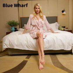 Summer New Quick Dry Nachthemd Damen V-Ausschnitt bedruckte Shorts Sleeve Hausbekleidung Damen Nachtschicht mit Robe