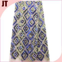 Sequins em cordão renda tecido bordado Diamante multicolor Casamento de bordado pesado Vestido e vestido de noite saco tecido Garment