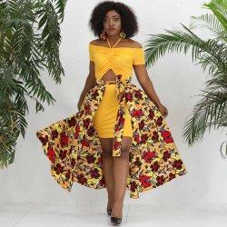 Nova Moda vestido de mulher africana e o fato de saia destacável