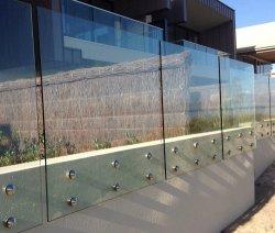 Frameloos voor binnen of buiten, met volledig glas op de console gemonteerd, standaard-off pin Glazen bandjes met getemperde/gelamineerde/getinte/matglazen glazing