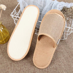 Open Toe Style Bio Eco-Friendly Canvas haciendo SPA con Logo Zapatillas de hotel