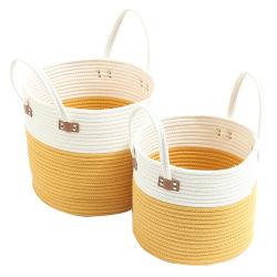 Corda de algodão grande cesta com pegas cesto de roupa com pega para tecidos de brinquedos de fraldas cesto de armazenamento