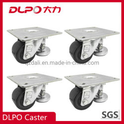 La plaque supérieure à 360 degrés les roues en polyuréthane Heavy Duty Roulette pivotante avec pieds de mise à niveau réglable