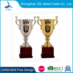 MOQ Custom Gold 、 Silver Metal Cup Trophy Award with wooden Base ( 018 )