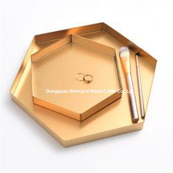 테이블을%s 기하학적인 금속 저장 쟁반 장식적인 쟁반