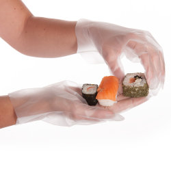 خدمة OEM البلاستيك القابل للاستخدام مرة واحدة CPE/TPE اليدوية Mitttens Blue Plastic Kitchen المُتَقَدِّمِ