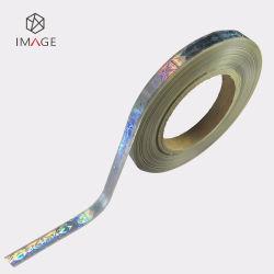 스풀 양식 인쇄된 용지에 대한 은빛 역류화된 홀로그램 호일 스트립 라벨