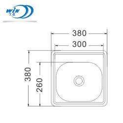 安い価格の水切り器およびDrain-Pipe 380*380mmが付いている小型ステンレス鋼の水漕
