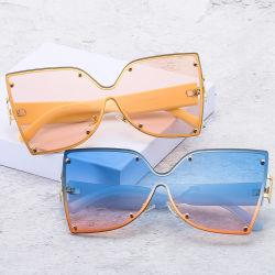 Эухения Новое высокое качество модных металлических большой площади женщин солнечные очки из одного куска большие солнечные очки