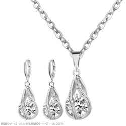 Chute de l'eau 925 Sterling Silver Necklace Earrings femmes bijoux Set