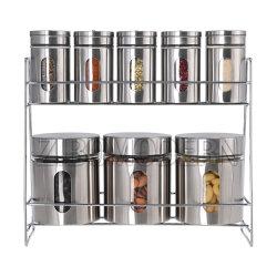 Contemporâneo de fantasia 8 Defina o vidro da tampa de aço inoxidável Especiarias Jar jarra de vidro para armazenamento de alimentos em Rack Cozinha Rack de especiarias