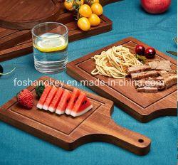 Okeyハンドルの朝食サービス木ピザ皿を切り分ける卸し売り木製テーブルウェアクラフトの供給の日本食料理店
