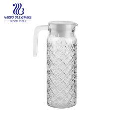 1L'eau froide de gros de l'eau potable verseuse en verre de boissons de jus de verre Pichet avec poignée avec couvercle d'usine de chinois (GB1101ZS)
