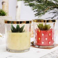Vela Perfumada Estilo de frutas em recipientes de vidro com tampa com o logotipo personalizado