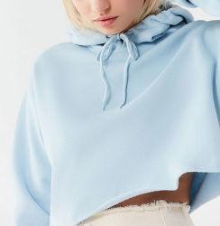 レディース青い収穫されたHoodieのスエットシャツ