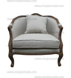 Design antigo mobiliário de estilo rústico da estrutura de Carvalho Castanho Cera Areia Almofadas de tecido de linho Sofá-Cama