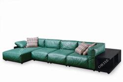 2019イタリアデザイン緑の革ホーム余暇のコーナーの部門別のソファー及びソファの家具