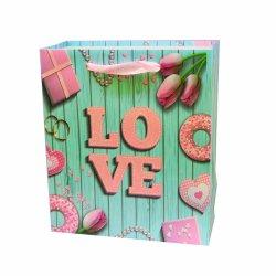Commerce de gros La Saint Valentin Love Heart Sac en Papier de cadeau d'emballage avec poignée