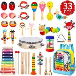 Venda quente Kids Instrumentos musicais de brinquedos a definir instrumentos de madeira de educação pré-escolar música de aprendizagem brinquedos com saco mochila de armazenamento